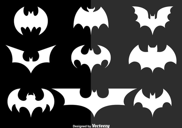 White bats silhouettes - Free vector #303491