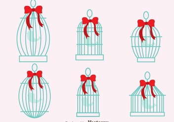 Vintage Bird Cage With Ribbon Vectors - Free vector #303591