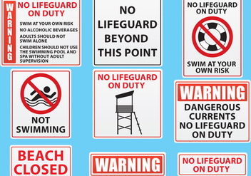 Beach And Pool Sign Vectors - бесплатный vector #303611