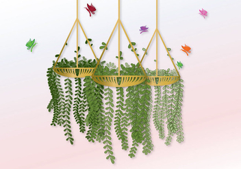 Vector Hanging Pot With Flowers - vector gratuit #303621