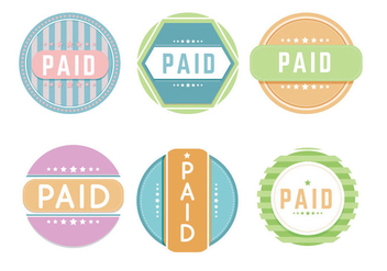 Colorful Paid Label Vectors - Kostenloses vector #303641