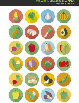 Flat vegetables icons - vector gratuit #303701
