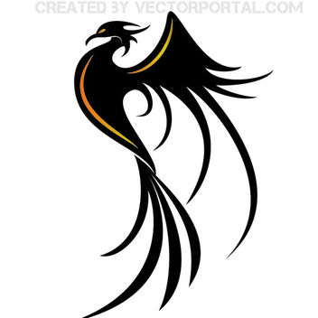 Stylish Phoenix Bird Silhouette - vector gratuit #303711