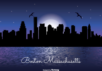 Boston Massachusetts Night Skyline Illustration - бесплатный vector #304201
