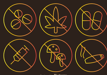 No Drugs Outline Sign Icons - Free vector #304231