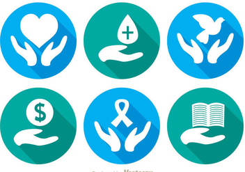 Donate Long Shadow Icons - vector #304391 gratis