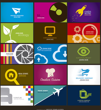 15 colorful and creative business cards - Free vector #304811