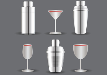 Cocktail Shaker and Glass Vector - vector gratuit #304881