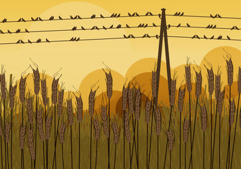 Birds on Wires in Autumn - vector gratuit #304921