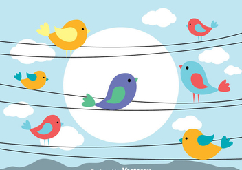 Bird On A Wire Vectors - vector gratuit #304941