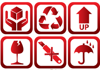 Fragile Red And White Icons - vector gratuit #305081