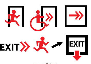 Emergency Exit Black and Red Sign - Free vector #305091