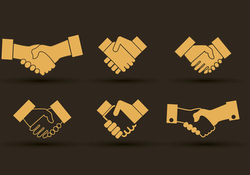 Set of hand shake icons design - vector gratuit #305141