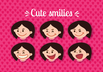 Women Smiling Face Vectors - Free vector #305161