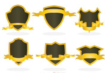 Shield Shape With Gold Ribbon - vector gratuit #305191