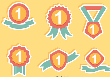 First Place Ribbon Flat Icons - бесплатный vector #305211