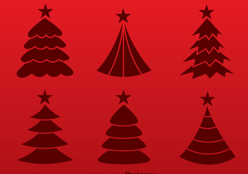 Christmas Tree Red Silhouette Vectors - Free vector #305231