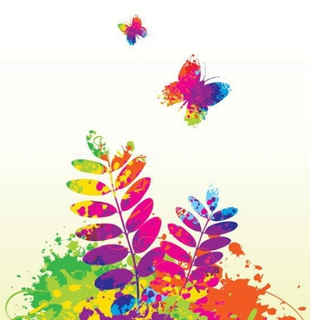 Colorful Ink Splashed Spring Concept - vector gratuit #305261