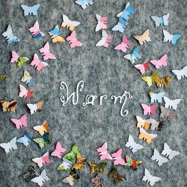 Paper butterflies around the word warm - Free image #305381