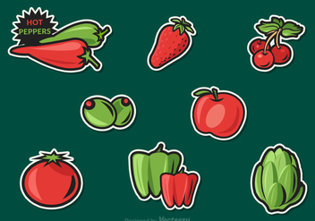 Free Fruit And Vegetables Vector Stickers - vector gratuit #305471