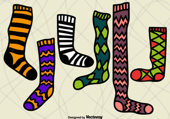 Hand drawn colorful stockings - vector gratuit #305501