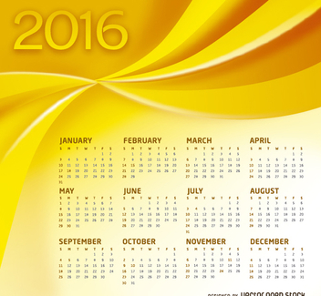 Yellow Calendar 2016 - vector #305651 gratis