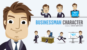 Businessman Cartoon character several poses - Free vector #305911