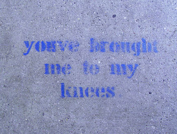 Sidewalk Stencil: You've brought me to my knees - Free image #307651