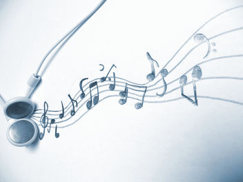 Music - an art for itself - Headphones and music notes / musical notation system - бесплатный image #308951