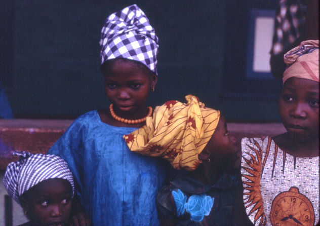 Mandingo girls dressed up for a celebration, Kabala, Sierra Leone (west Africa) 1968 - Free image #314091