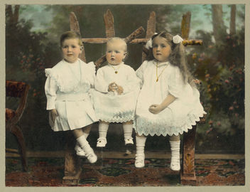 Vintage Picture Three Girls, or is it Two Girls and a Boy, in Dresses Posing for Their Portrait - бесплатный image #314141