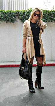 sweater dressing+ferragamo bag+over the knee boots+cat eye sunglasses+blonde hair - Free image #314471