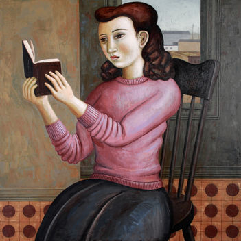 Girl w/ book and purple sweater - image #315751 gratis