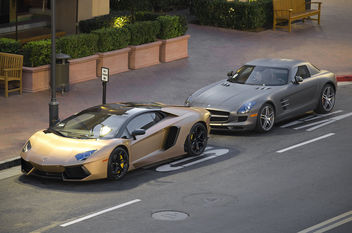 Matte Gold Lamborghini Aventador and Matte Gray Mercedes SLS - бесплатный image #316161