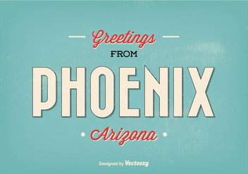 Phoenix Arizona Retro Greeting Illustration - бесплатный vector #317501