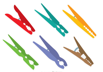 Colorful Clothespin Icons - Free vector #317651