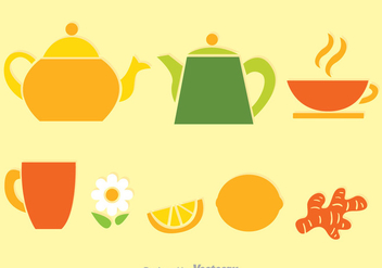 Tea Set Colors Vectors - Free vector #326711