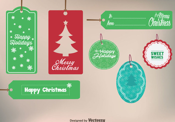 Merry Christmas Gift Labels - Free vector #326721