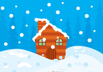 Log Cabin Snow In Hills Vector - бесплатный vector #326791