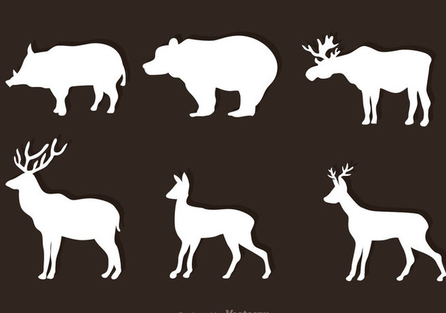 Animal Forest blanc vecteurs - vector gratuit #326811