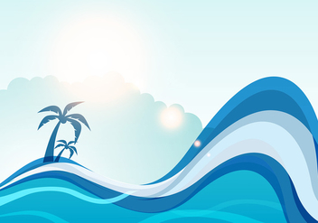 Summer sea wave vector background - vector gratuit #327091