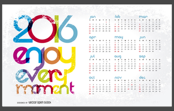 2016 calendar with message - Free vector #327181