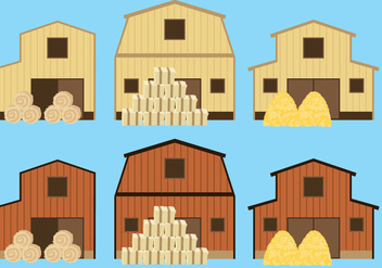 Barns And Hay Bale - бесплатный vector #327541