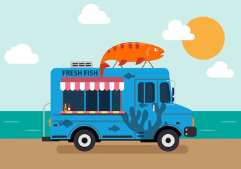 Vector Seafood Truck - Free vector #327621