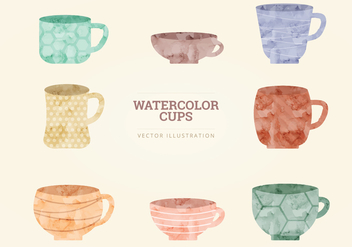 Watercolor Vector Cups - vector gratuit #327911