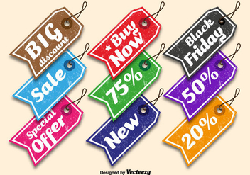 Colorful sale tags - vector gratuit #328241
