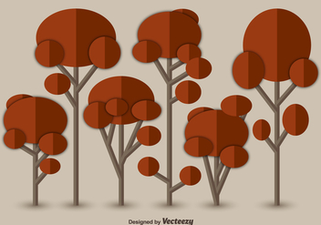 Flat autumn trees - vector gratuit #328261