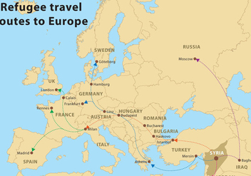 Vector Refugee Routes To Europe - vector #328291 gratis