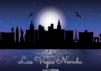 Las Vegas Night Skyline Illustration - бесплатный vector #328311