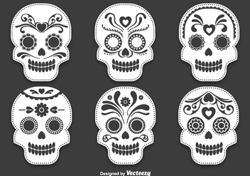 Day of the dead skull vectors - vector gratuit #328341